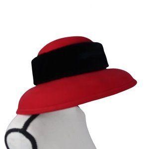 VTG 1970s Betmar NY Red & Black Winter Bucket Hat